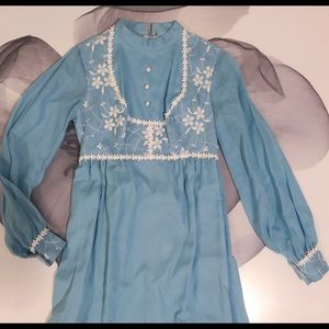Vintage 60s Cornflower blue prairie dress